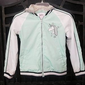 Justice unicorn windbreaker jacket 8/10